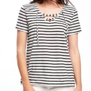 New! Old Navy Medium Relaxed Lace-Up  Striped Top